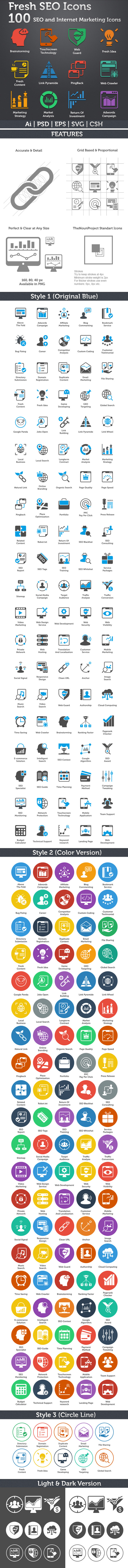 100 Fresh SEO Icons SEO and Internet Marketing Icons icons
